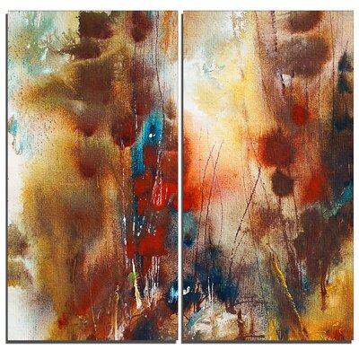 DesignArt Artistic Brown Abstract 2 Piece Graphic Art on ...