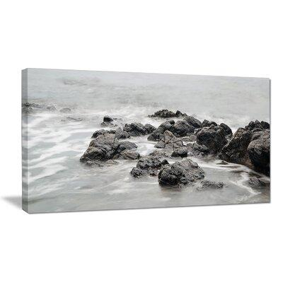 DesignArt Black and White Rocky Coastline Photographic Pr...
