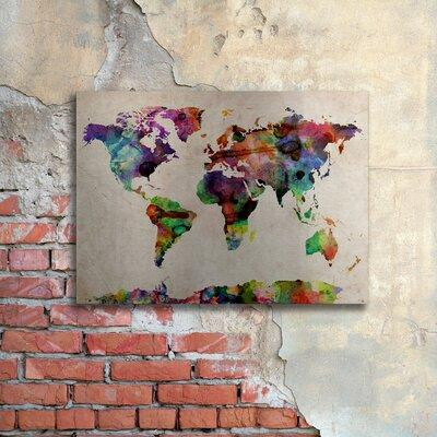 Michael tompsett urban watercolor world map canvas art wall decor trademark art watercolor world map by michael tompsett gumiabroncs Image collections