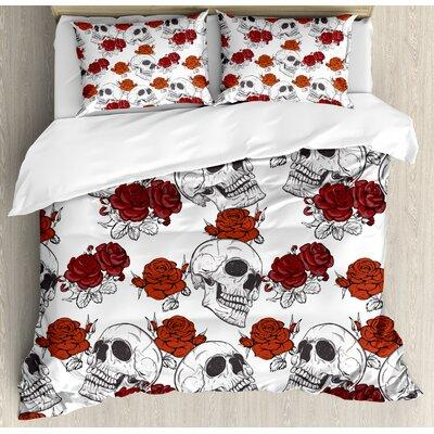 Ambesonne Skull Decorations Retro Gothic Dead Skeleton Figures with Rose Halloween Spooky Trippy Romantic Duvet Set nev_21369_ Size: King