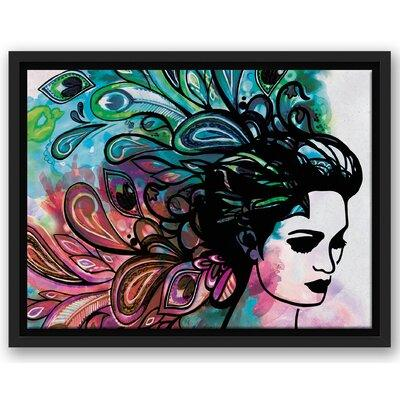 Wrought Studio 'Woman with Peacock Feather Hair' Watercol...
