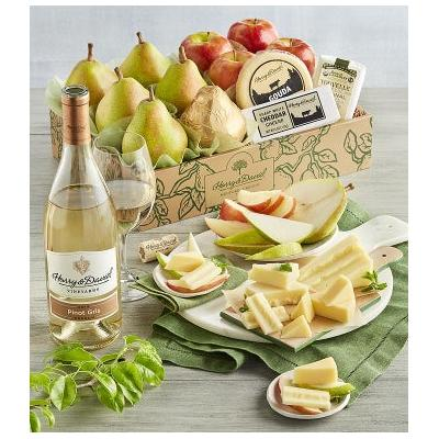 Deluxe Pears, Apples, and Cheese Gift with Wine - Gift Ba...