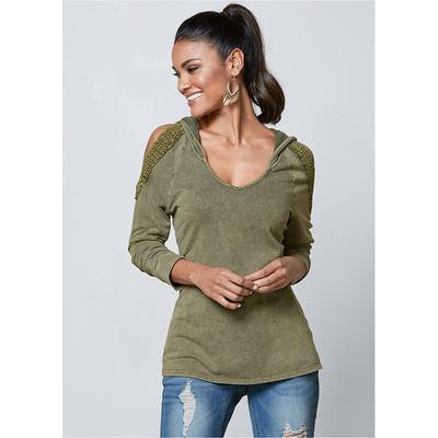 """Venus Women's Cold Shoulder Lounge Hoodie Loungewear - Green"""