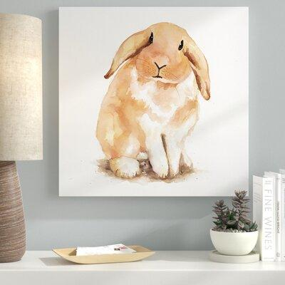 Ebern Designs 'Fuzzy Lop Rabbit' Oil Painting Print on Wr...