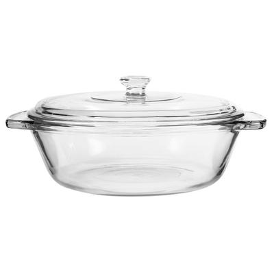 Anchor Hocking 81932OBL11 Basics 2 Qt. Clear Glass Square Cake Pan with Cover - 3/Case