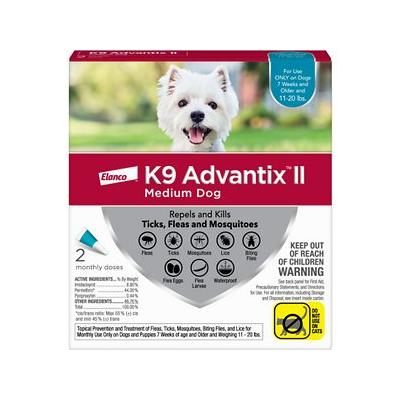 K9 Advantix II Flea, Tick & Mosquito Prevention for Medium Dogs 11-20 lbs, 2 treatments