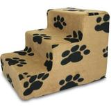 Best Pet Supplies Paw Print Foam Pet Stairs, Beige, 3-Step