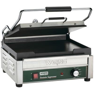 "Waring WFG250 Tostato Supremo Large Smooth Top & Bottom Panini Grill - 14 1/2"" x 11"" Cooking Surface - 120V, 1800W"