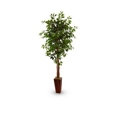 Nearly Natural Green 6-ft. Ficus Tree with Bamboo Planter