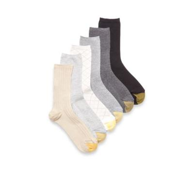 Gold Toe Assorted Casual Texture Crew Socks - 6 Pair