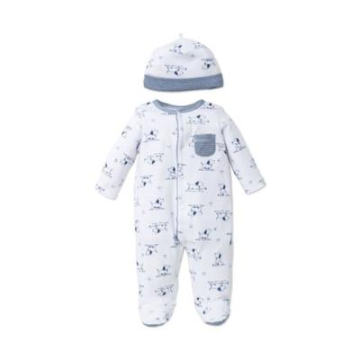 Little Me White Print 2-Piece Puppy Footie and Hat Set