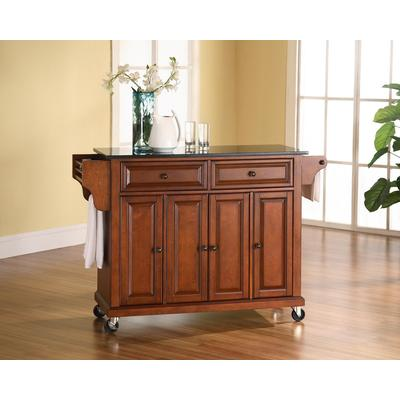 Crosley Solid Black Granite Top Kitchen Cart/Island, Classic Cherry Finish