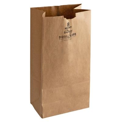 Duro Husky Heavy-Duty 8 lb. Brown Paper Bag - 500/Bundle