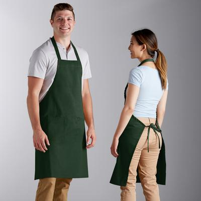 Choice Hunter Green Full Length Bib Apron with Pockets - ...