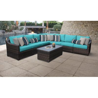 kathy ireland Homes & Gardens River Brook 8 Piece Outdoor Wicker Patio Furniture Set 08a in Aqua - TK Classics River-08A-Aruba
