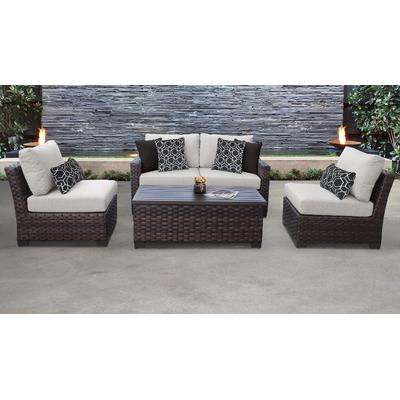 kathy ireland Homes & Gardens River Brook 5 Piece Outdoor Wicker Patio Furniture Set 05d in Truffle - TK Classics River-05D-Ash
