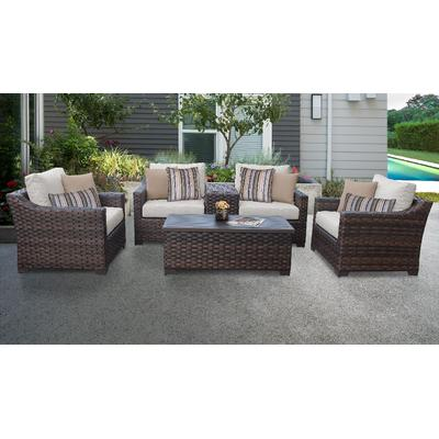 kathy ireland Homes & Gardens River Brook 6 Piece Outdoor Wicker Patio Furniture Set 06a in Truffle - TK Classics River-06A