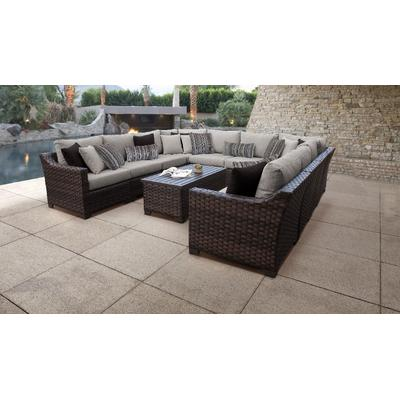 kathy ireland Homes & Gardens River Brook 11 Piece Outdoor Wicker Patio Furniture Set 11a in Truffle - TK Classics River-11A-Ash