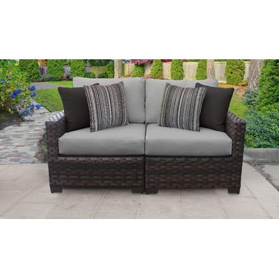 kathy ireland Homes & Gardens River Brook 2 Piece Outdoor Wicker Patio Furniture Set 02a in Slate - TK Classics River-02A-Grey