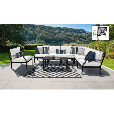 kathy ireland Homes & Gardens Madison Ave. 8 Piece Outdoor Aluminum Patio Furniture Set 08d in Snow - TK Classics Madison-08D