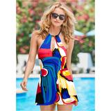 High Neck Swim Dress One-Piece Swimsuits & Monokinis - Multi/Blue/Red
