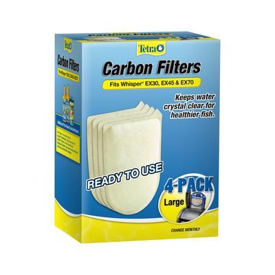 Tetra Large Replacement Carbon Filters for EX30, EX45, and EX70 Filtration Systems, Pack of 4