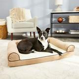 FurHaven Faux Fleece Cooling Gel Bolster Dog Bed w/Removable Cover, Cream, Large