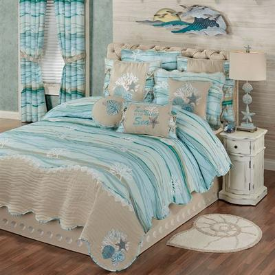 Seaview II Quilt Set Light Blue, Queen, Light Blue