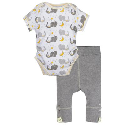 Miracle Baby Short Sleeve Bodysuit and Pant Outfit - Gray