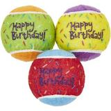 Frisco Fetch Squeaking Birthday Tennis Ball Dog Toy, 3-Pack
