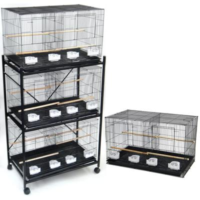 YML Breeding Black Cages with Divider and Stand, Medium, Set of 4