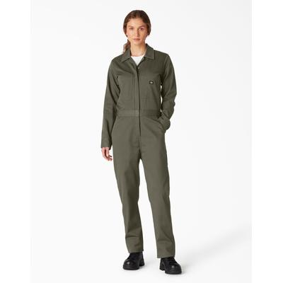 Dickies Women's Long Sleeve Cotton Coveralls - Moss Green Size XS XS (FV483)