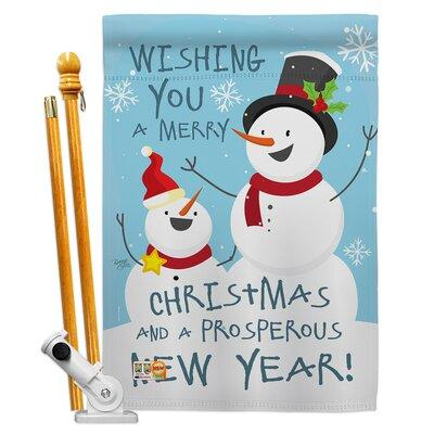 Breeze Decorbreeze Decor Snowman Wishing You Christmas Impressions Decorative 2 Sided Polyester 40 X 28 In Flag Set In Blue Gray Size Medium 13 30 Wide Dailymail