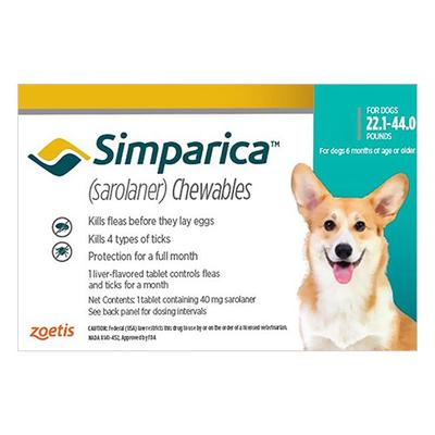 Simparica For Dogs 22.1-44 Lbs (Blue) 6 Pack - 087219120248