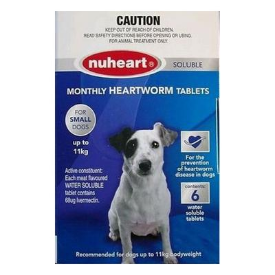 Nuheart Generic Heartgard For Small Dogs Upto 25lbs (Blue) 6 Tablet -