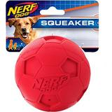 Nerf Dog Squeaker Soccer Ball Dog Toy, Red