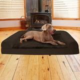 FurHaven Plush & Suede Cooling Gel Bolster Dog Bed w/Removable Cover, Espresso, Jumbo Plus