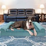 FurHaven Plush & Suede Memory Top Bolster Dog Bed w/Removable Cover, Deep Pool, Jumbo Plus