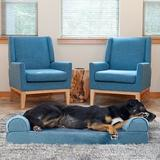 FurHaven Faux Fur Memory Top Bolster Dog Bed w/Removable Cover, Harbor Blue, Large