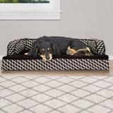 FurHaven Comfy Couch Orthopedic Bolster Dog Bed w/Removable Cover, Diamond Brown, Medium