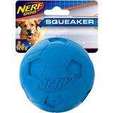 Nerf Dog Soccer Squeaker Ball Dog Toy, 3.25-in, Blue/Green
