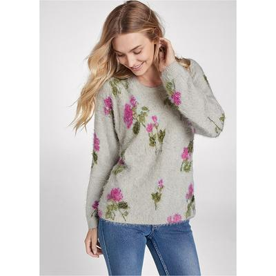 Floral Cozy Sweater Sweaters - Grey