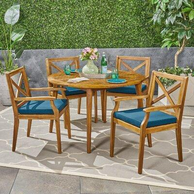 Charlton Home Hagues Outdoor 5 Piece Dining Set W Cushions Frame Wood Natural Hardwoods In Teak Size 47 25 L X 47 25 W Wayfair Ibt Shop
