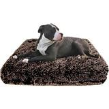 Bessie + Barnie Frosted Willow Deluxe Pillow Cat & Dog Bed w/Removable Cover, Brown/Gray, Small