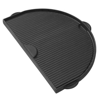 Primo PG00362 Half Moon Cast Iron Griddle For Oval Junior w/ 1 Smooth & 1 Grooved Side (PRM362)