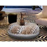 Bessie + Barnie Signature Extra Plush Faux Fur Animal Print Bagel Dog & Cat Bed, Aspen Snow Leopard/Snow White, X-Small