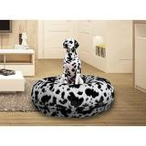 Bessie + Barnie Signature Extra Plush Faux Fur Animal Print Bagel Dog & Cat Bed, Spotted Pony, Large