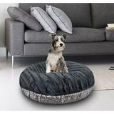Bessie + Barnie Signature Extra Plush Faux Fur Animal Print Bagel Dog & Cat Bed, Grey/Gravel Stone, X-Large