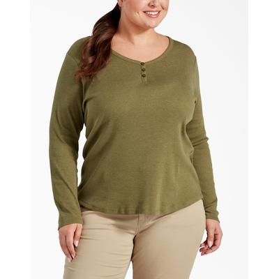 Dickies Women's Plus Long Sleeve Henley Shirt - Olive Size 3 (FLW097)
