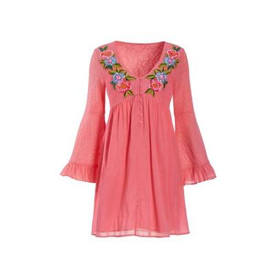 Boston Proper - Lace Inset Embroidered Dress - Pink - Xx Small
